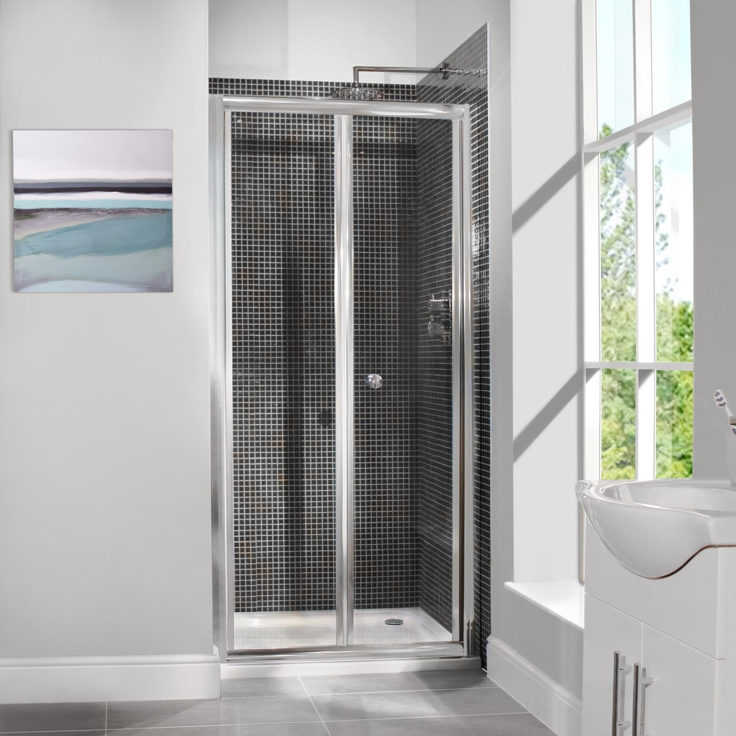800mm Bi Fold Shower Door 6mm Glass Aquafloe
