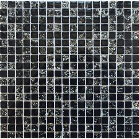 Black Crackle Glass Wall Mosaic