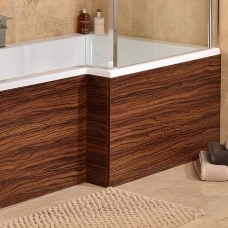 1670 Walnut L Shaped Shower Bath Panel