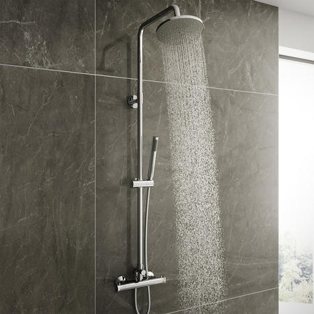 Vira Round Riser Slide Shower Rail Kit with Dual Valve