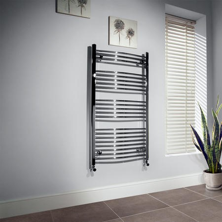 GRADE A1 - Beta Heat 1150 x 500mm Curved Chrome Heated Towel Rail