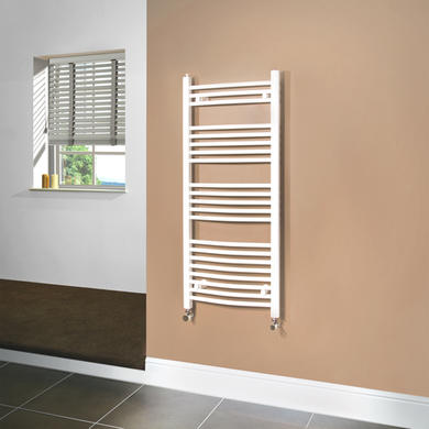 Beta Heat 1150 x 500mm Curved White Heated Towel Rail