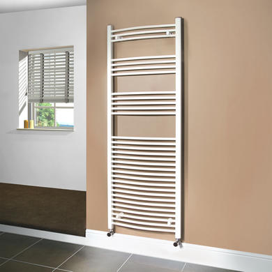 Beta Heat 1700 x 600mm Curved White Heated Towel Rail