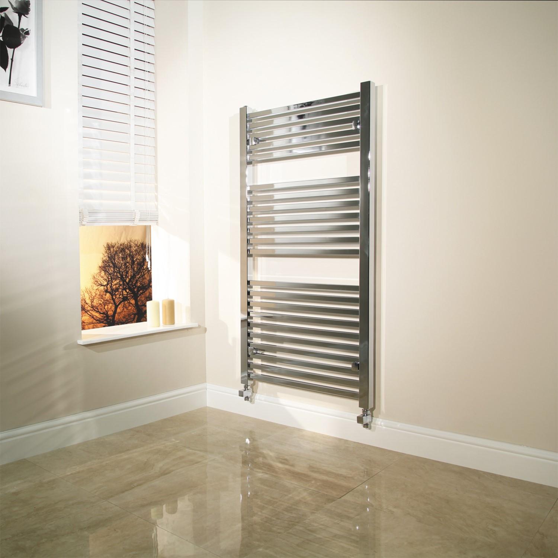 Modern Bathroom 1200 x 600mm Heated Towel Rail Radiator Straight Chrome 17 Rails