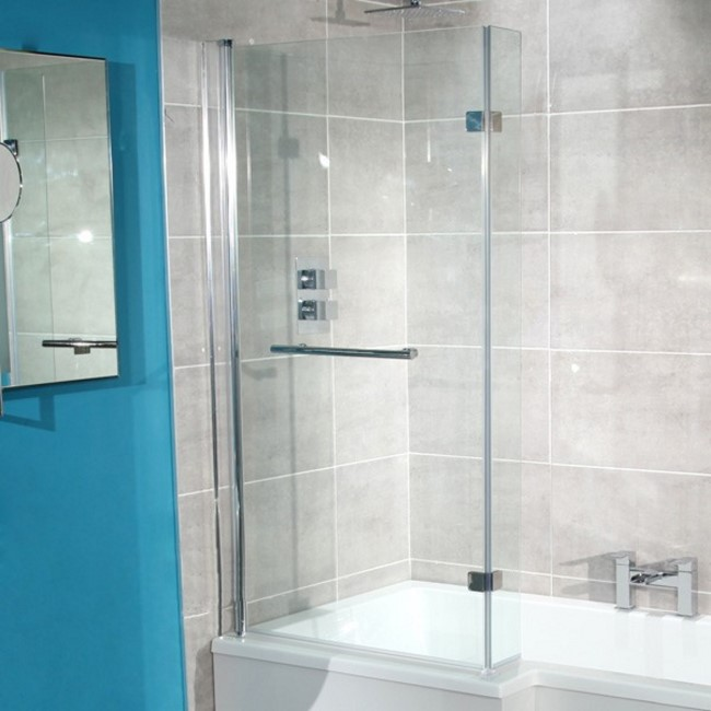 L-Shaped Hinged Bath Shower Screen H1435 x W796mm with Towel Rail