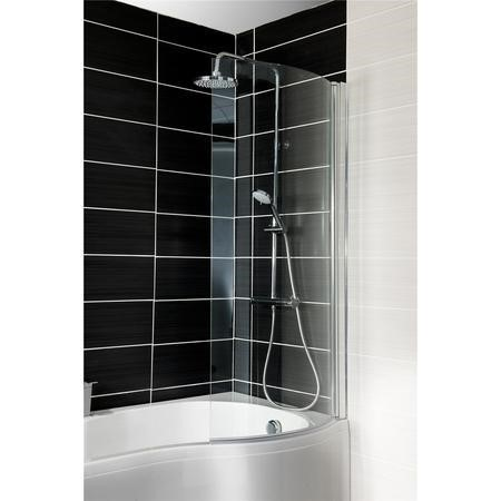 Curved Shower Bath Screen H1400mm x W695mm