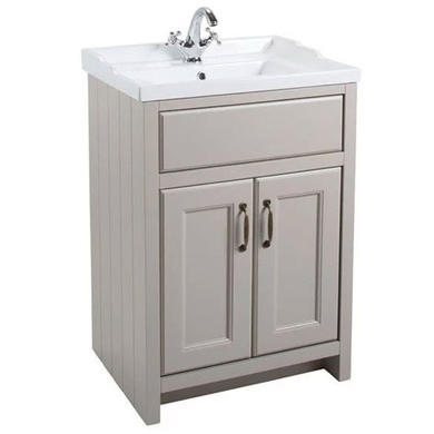 Grey Traditional Bathroom Free Standing Vanity Unit & Basin - W615mm