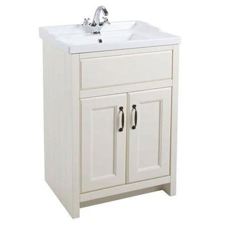 White Traditional Bathroom Free Standing Vanity Unit & Basin - W615mm