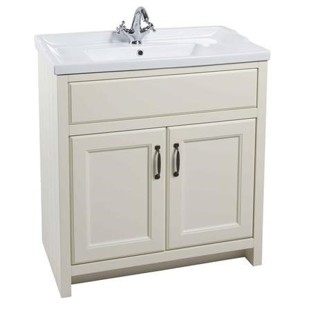 White Traditional Bathroom Free Standing Vanity Unit & Basin - W815mm