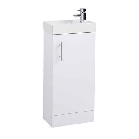 White Cloakroom Vanity Unit & Basin - W400 x H860mm