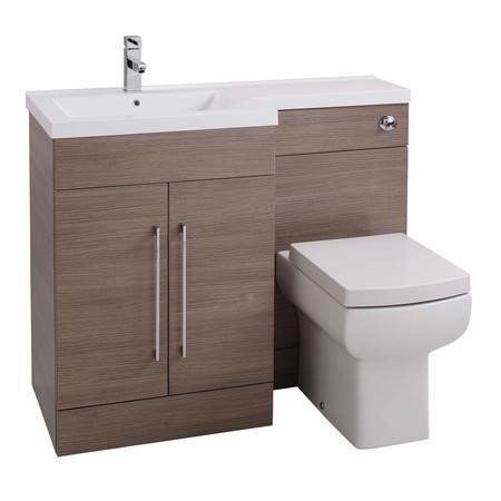Oak Left Hand Bathroom Vanity Unit & Basin Furniture Suite - W1090mm - Includes Mid Edge Basin Only