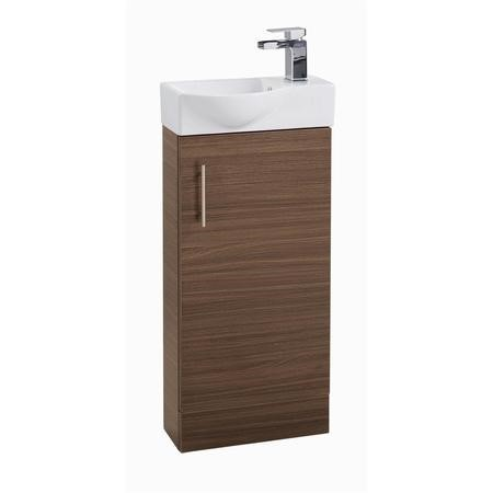 Walnut Cloakroom Vanity Unit & Basin - W400 x H860mm