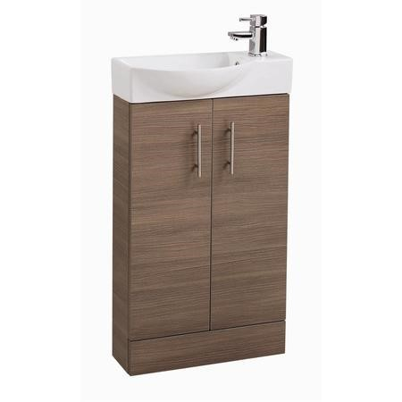 Oak Cloakroom Vanity Unit & Basin - W505 x H885mm