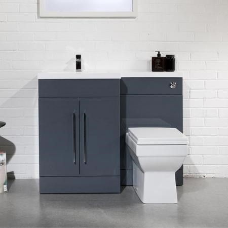 Anthracite Left Hand Bathroom Vanity Unit Furniture Suite - W1090mm - Includes Mid Edge Basin Only