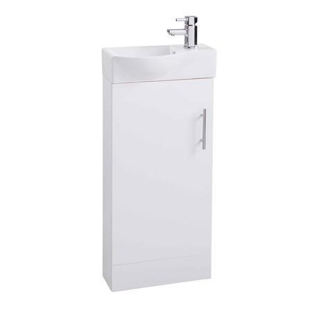 White Single Door Bathroom Vanity Unit & Basin - W400 x H885mm
