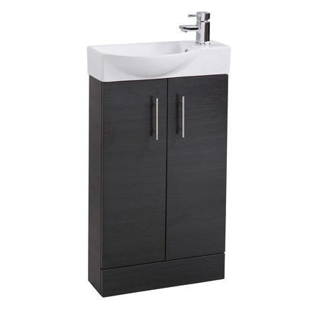 Black Double Door Bathroom Vanity Unit & Basin - W505 x H885mm