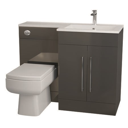 Anthracite Bathroom Vanity Unit Furniture Suite Right Hand - W1090mm - Includes Thin Edge Basin Only