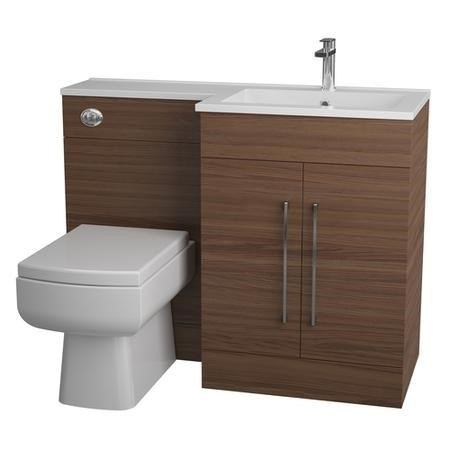 Walnut Bathroom Vanity unit Furniture Suite Right Hand - W1090mm - Includes Thin edge Basin Only