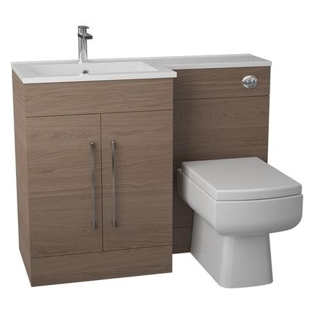 Oak Left Hand Bathroom Vanity Unit Furniture Suite - W1090mm - Includes Thin Edge Basin Only