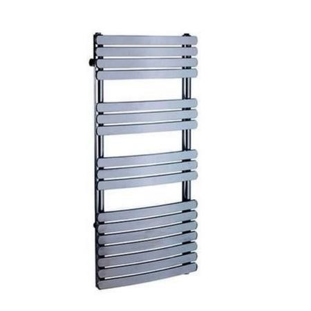 Curved Chrome Bathroom Towel Radiator with Flat Rails - 1200 x 500mm