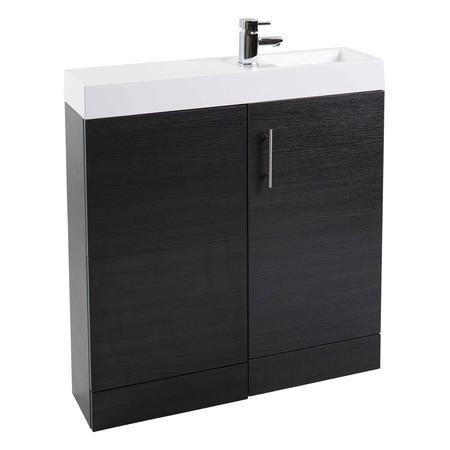 Black Free Standing Bathroom Right Hand Vanity Unit & Basin - W800mm