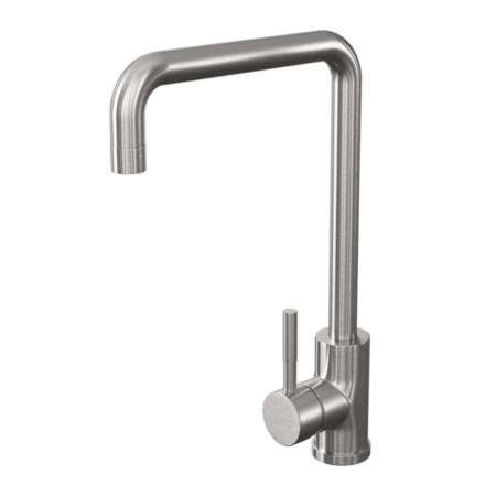 Reginox single handle swan neck brushed steel nickle tap