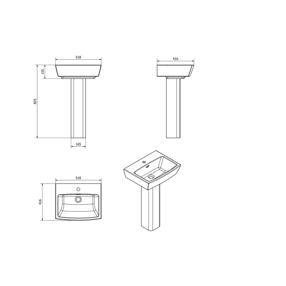 Delta Pedestal Sink 1 Tap Hole Better Bathrooms