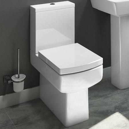 Square Close Coupled Toilet with Soft Close Seat - Delta