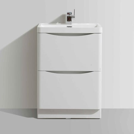 White Free Standing Bathroom Vanity Unit & Basin - W600 x H850mm - Oakland