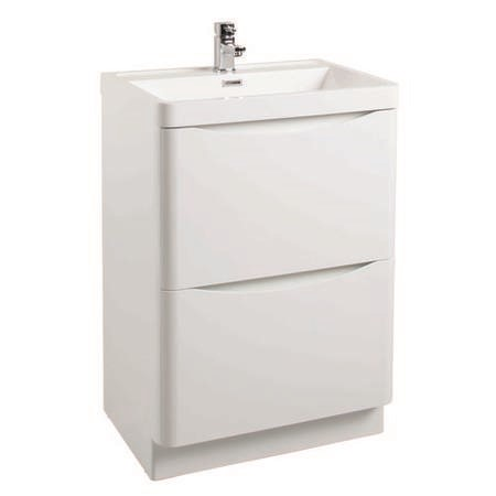 White Free Standing Bathroom Vanity Unit & Basin - W600mm