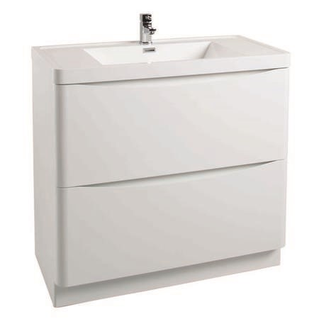 White Free Standing Bathroom Vanity Unit & Basin - W900mm