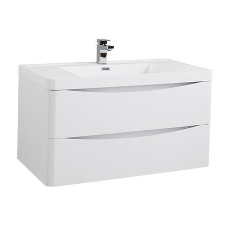 White Wall Hung Bathroom Vanity Unit & Basin - 900mm Wide