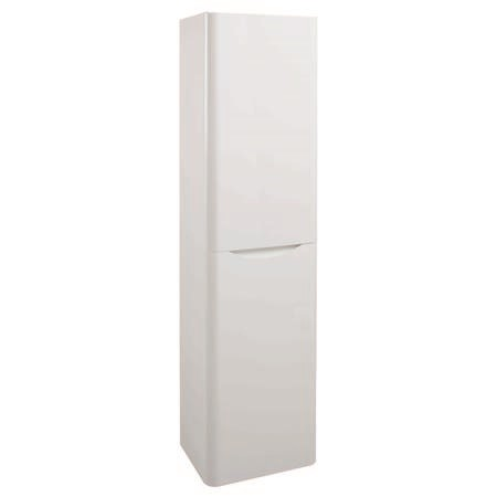 White Wall Hung Tall Bathroom Storage Cabinet - W400 x H1500mm - Oakland