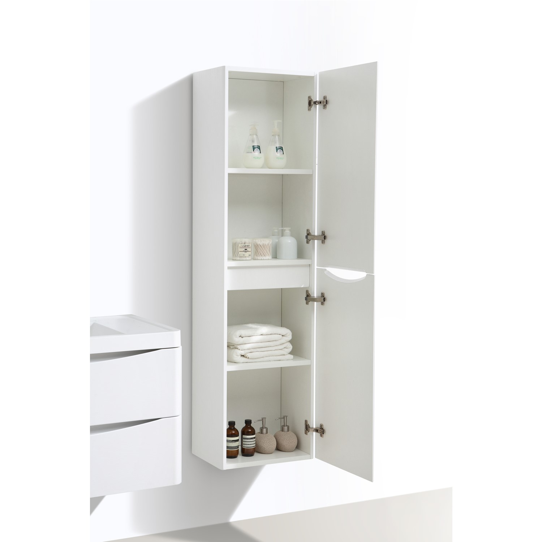 White Wall Hung Tall Bathroom Storage