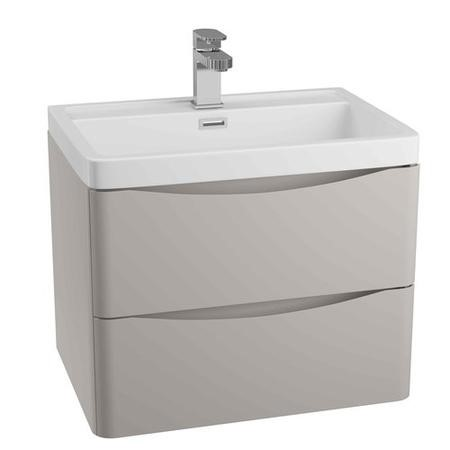 Grey Wall Hung Bathroom Vanity Unit & Basin - 900mm Wide