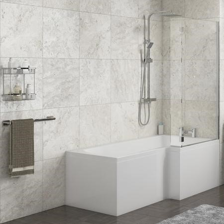 Lena Right Hand L Shape Shower Bath with Side Panel & Shower Screen - 1500 x 700mm