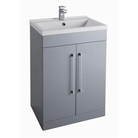 Grey Free Standing Bathroom Vanity Unit -2 Door - Without Basin - W600mm