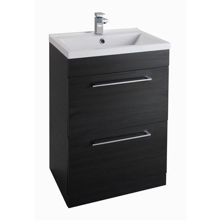 Black Free Standing Bathroom Vanity Unit - Without Basin - W600mm