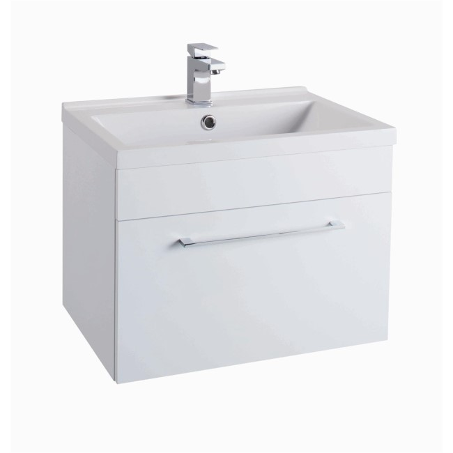 White Wall Hung Bathroom Vanity Unit - Without Basin - W600mm