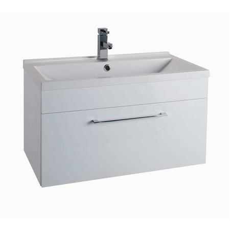 White Wall Hung Bathroom Vanity Unit - Without Basin - W800mm