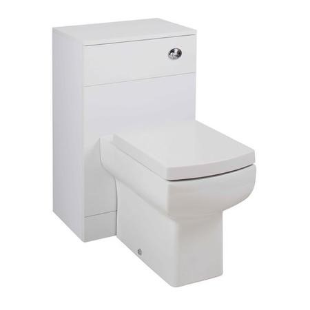 White WC Toilet Unit with Square Toilet & Soft Close Seat - W500 x D810mm