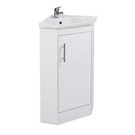 White Mini Cloakroom Corner Vanity Unit & Basin - W380mm