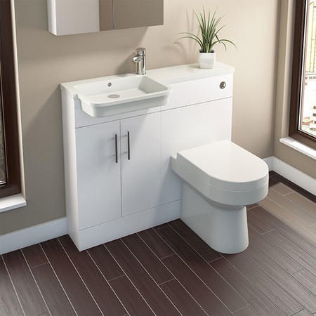 White Vanity Unit Furniture Suite Left Hand - W1000mm