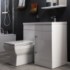 White L-Shaped Mid Edge Basin & WC Unit Right Hand - W900 x H860mm