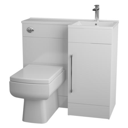 White L-Shaped Thin Edge Basin & WC Unit Right Hand - W900 x H 838mm
