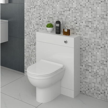 Anya Minimalist White WC Unit 600x200mm