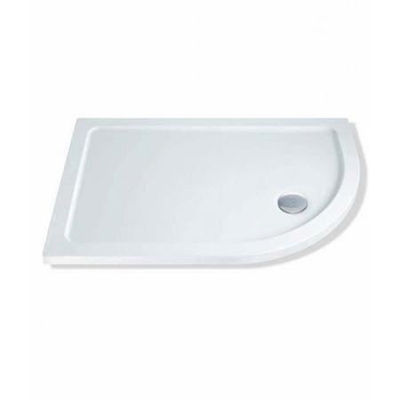 Claristone White Right Hand Shower Tray & Waste - 900 x 760mm