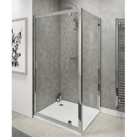Claritas 6 Pivot Shower Door 900mm Wide - 6mm Glass