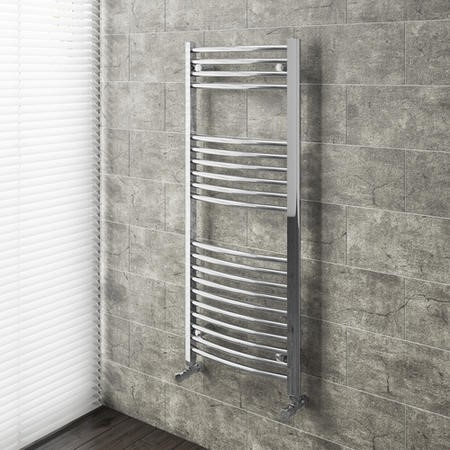 Chrome Vertical Bathroom Towel Radiator Curved - 1200 x 500mm