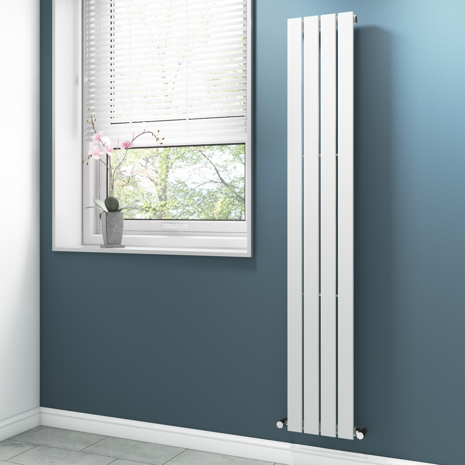 White Vertical Bathroom Radiator With Flat Panels 1800 X 300mm Better Bathrooms